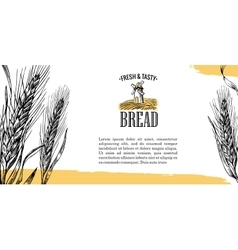 Mill Wheat field Ears Engraving vector image vector image