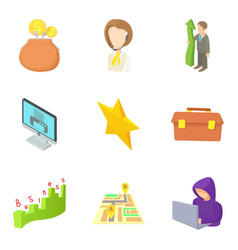 promotion at work icons set cartoon style vector image vector image