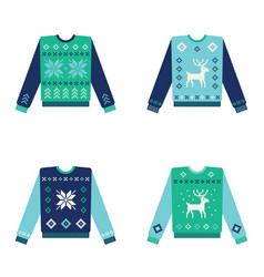 Set of ugly christmas sweaters with snowflakes vector
