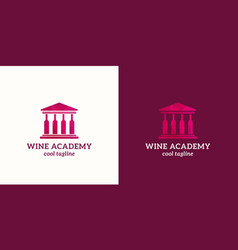 wine academy abstract sign emblem or logo vector image vector image