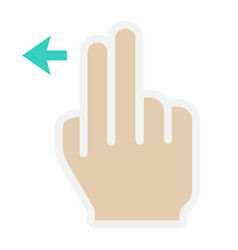 2 finger swipe left flat icon touch and gesture vector image