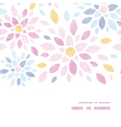 Abstract textile colorful flowers horizontal frame vector image