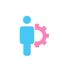 account settings symbol user with gearwheel flat vector image