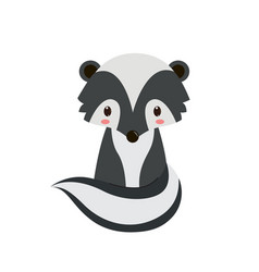 adorable cartoon sitting skunk vector image