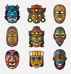 African craft voodoo tribal mask and inca south vector