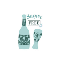 Angela glass and bottle for party celebration vector