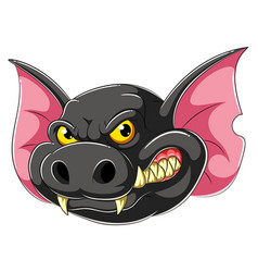angry bat head cartoon mascot vector image