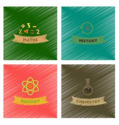 assembly flat shading style icons school history vector image