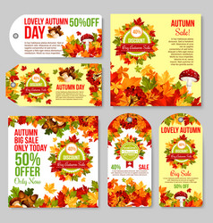autumn sale tag and discount promotion banner set vector image
