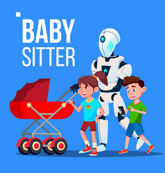 baby sitter robot going with baby carriage vector image