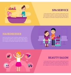 Beauty Procedures Flat Horizontal Banners vector