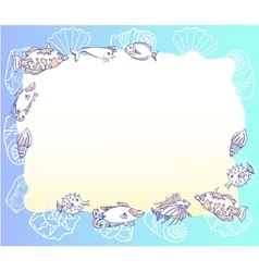 Blue Background with with Fishes and Cockleshell vector