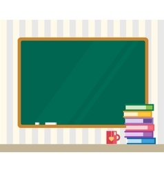 Books on desk Clean board Back to school vector image
