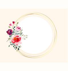 bouquet watercolor flower on circular golden vector image
