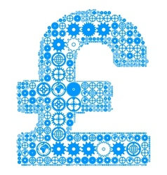 British pound sign made of gears vector