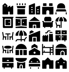 Building and Furniture Icons 12 vector image