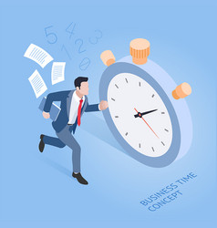 Business time concepts businessman running vector