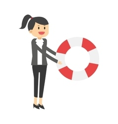 Business woman with life preserver icon vector