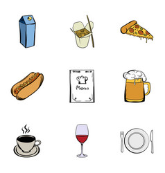 Cafe icons set cartoon style vector