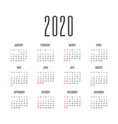 Calendar for 2020 years week starts from sunday vector