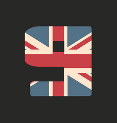 Capital number nine with uk flag texture isolated vector