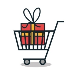 Cart shopping with gift icon vector