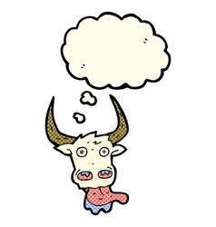 Cartoon cow face with thought bubble vector