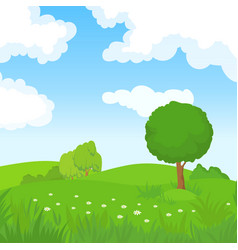 cartoon summer landscape with green trees and vector image