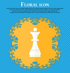 Chess Queen icon Floral flat design on a blue vector image