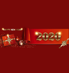 Christmas new year 2020 red banner mockup vector