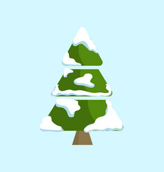 Christmas tree covered by white of spruce vector