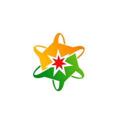 circle curve star logo vector image