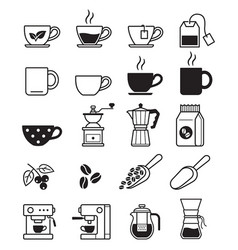 coffee black icons vector image