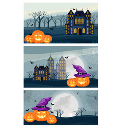collage set halloween forest vector image