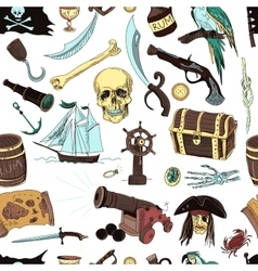 colored Pirates pattern Hand drawn vector image