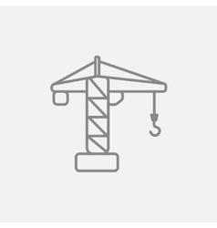 Construction crane line icon vector