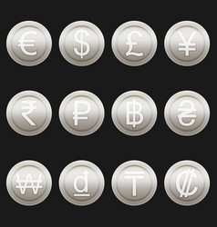 Currency coins symbols icons metallic platinum set vector