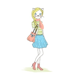 Cute anthropomorphic fashion kitten vector
