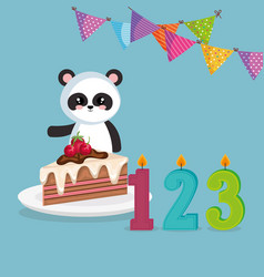 cute bear panda with cake and candles vector image