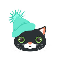 Cute black cat head in turquoise knitted hat vector