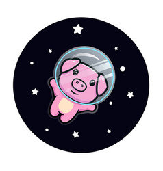 Cute pig astronaut floating on space mascot vector
