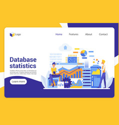 database statistics flat landing page vector image