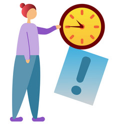 Deadline icon stressed woman on white vector