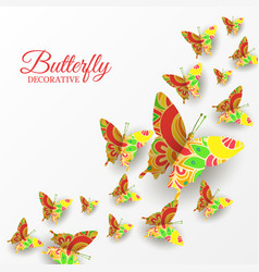 decorative banner with colorful flying butterflies vector image
