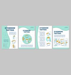 Eyebrow tattoo brochure template layout permanent vector