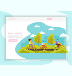 family holiday landing page vector image
