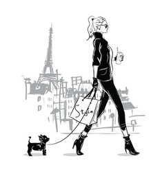 Fashion girl in sketch style with a small doggie vector