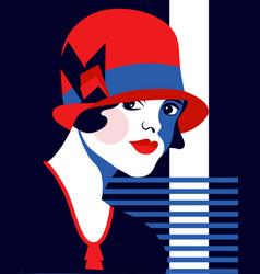 fashion woman with hat portrait art deco style vector image