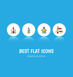 flat icon building set of traditional church vector image