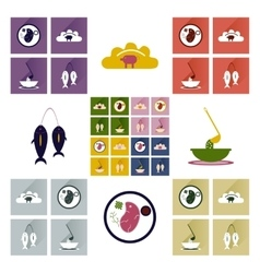 Flat icon collection with shadow ukrainian cuisine vector